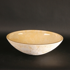 ATELIER LUNA OVAL YELLOW - Dual Textured Bathroom Vessel Sink