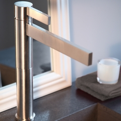 CASO BRUSHED CHROME DESIGNER BATHROOM FAUCET