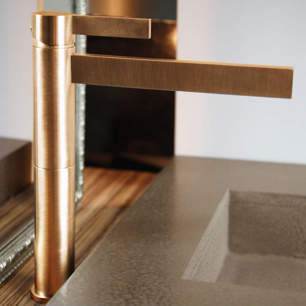 BRUSHED GOLD DESIGNER BATHROOM FAUCET - Designer bathroom faucets