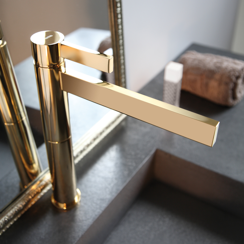 Polished gold waterfall bathroom faucet for Polished gold bathroom faucets