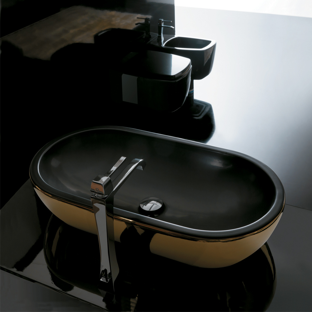 Midas ceramic gold black ultra modern gold black vessel sink for Black vessel bathroom sink