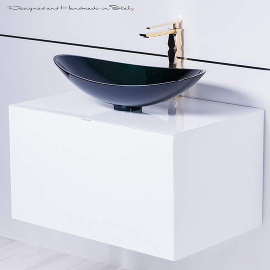 Chic Italian Starlight Black Vessel Sink with Gold Faucet Combo