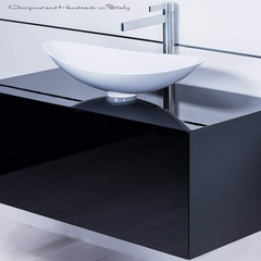 40 inch black lacquer bathroom vanity and white vessel sink combo