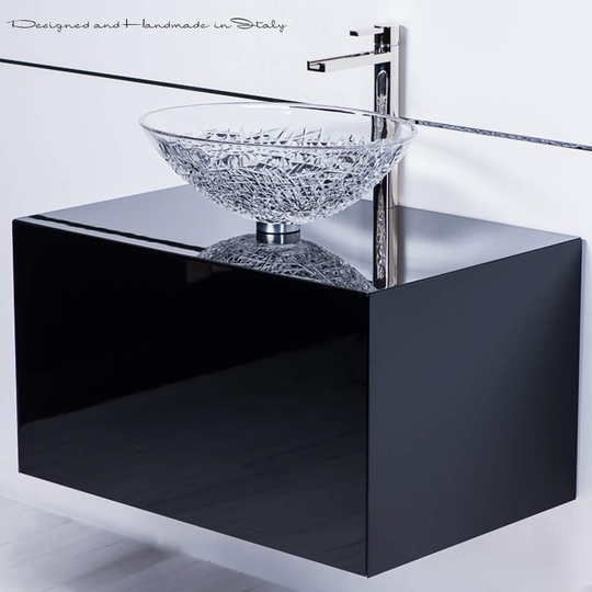 Chic Crystal Vessel Sink On 30 Inch Black Lacquer Bathroom Vanity