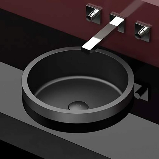 Circular Drop-in Bathroom Sink | Black