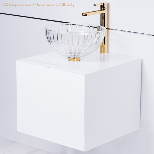 Italian 20 inch white lacquer bathroom vanity with crystal vessel sink combo