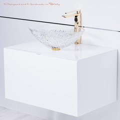 Italian crystal oval vessel sink with polished gold sink faucet combo