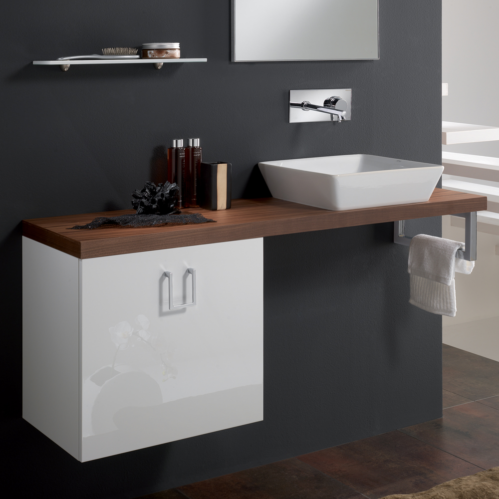 Cleo 04 Veneered Walnut High End Bathroom Sink Vanity Stand