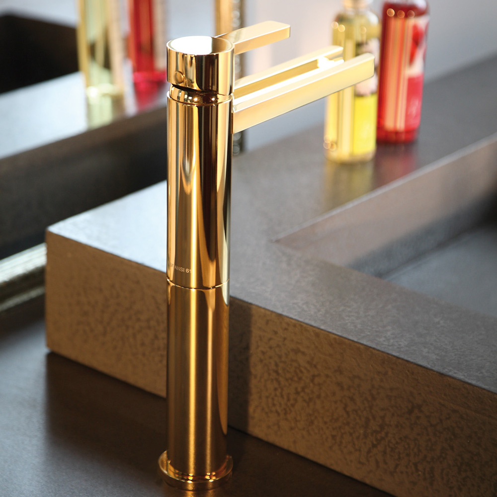 Aqua polished gold modern bathroom faucet for Polished gold bathroom faucets