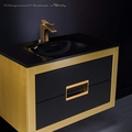 Danya Gold Leather Modern Bathroom Vanity 32 Inch
