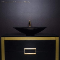 Danya Gold Leather Modern Bathroom Vanity 40 Inch