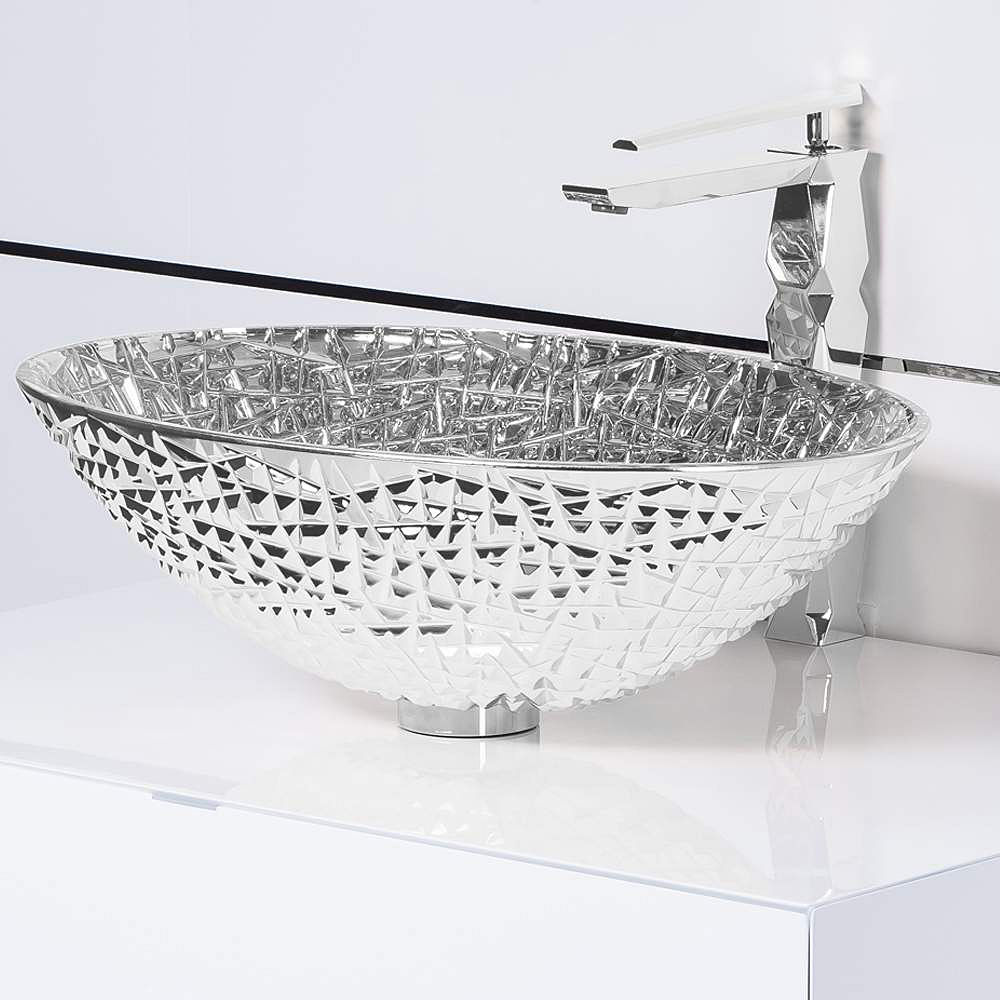 De Medici Ice Oval Silver Crystal Vessel Sink