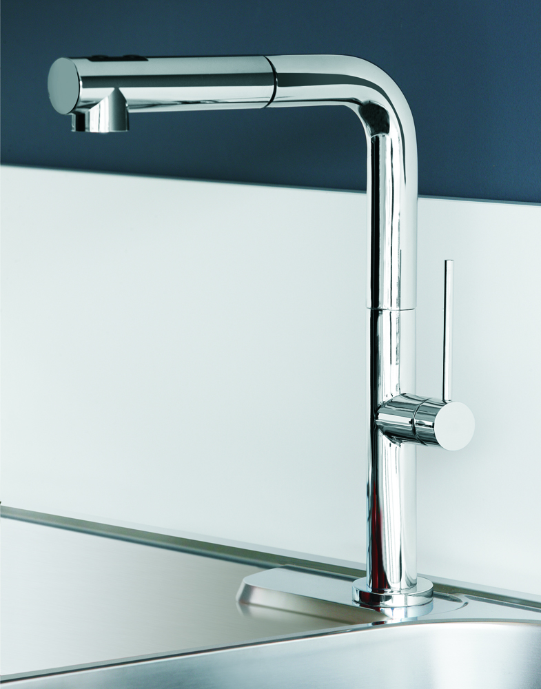 Chrome modern kitchen faucet with pull out dual shower Designer kitchen faucets