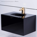 Dora Black Lacquered Bathroom Vanity 30 Inch