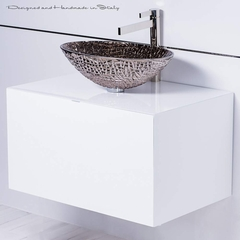 Luxury Italian platinum crystal vessel sink and faucet combo