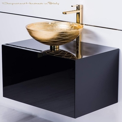 Modern black lacquer vanity and Gold Leaf Vessel Sink