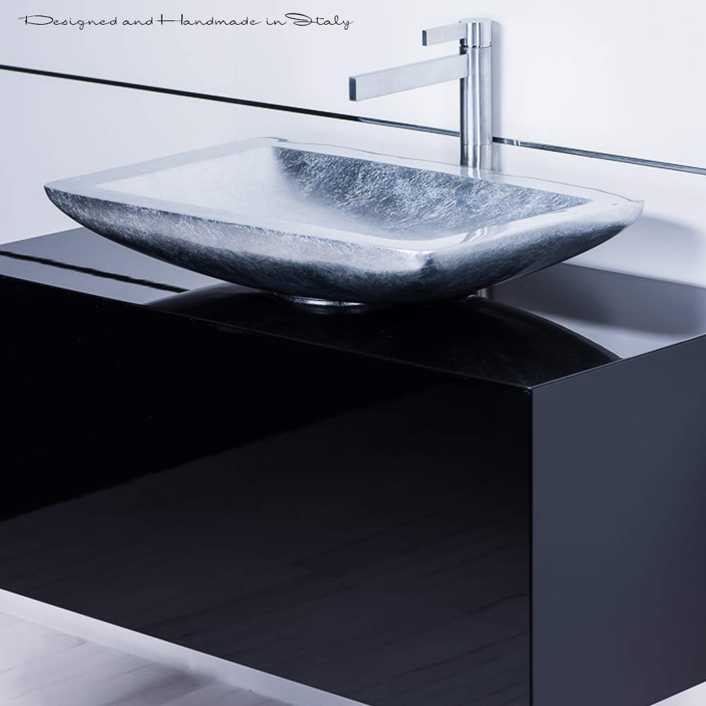 Modern Black Bathroom Vanity With Vessel Sink Combo Black And Silver