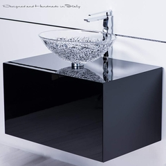 Elegant Italian crystal vessel sink with polished chrome sink faucet