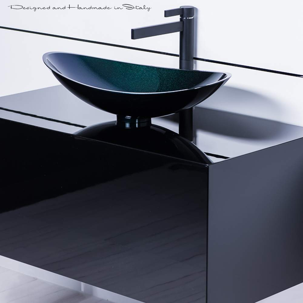 Modern matte black bathroom faucet and black vessel sink combo