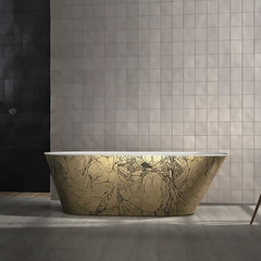 Freestanding Bathtub | Black and Gold