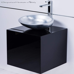 Modern Italian 20 inch vanity sink combo | Black and silver
