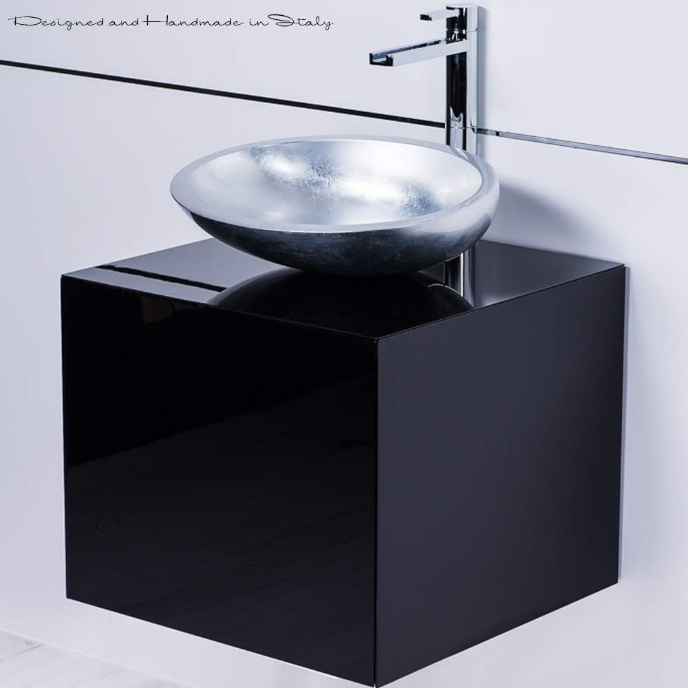 Modern italian 20 inch vanity sink combo black and silver - 20 inch bathroom vanity and sink ...