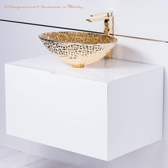 Luxury designer white and gold bathroom fixture selection