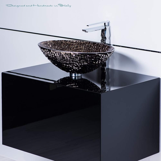 Italian platinum crystal vessel sink and lacquered black vanity combo