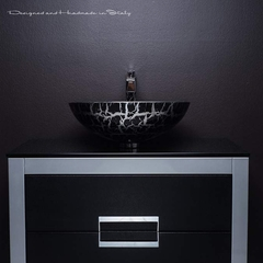 32 inch bathroom vanity with top | Black and Silver