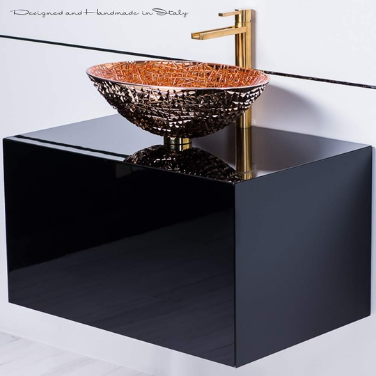 Luxury rose gold crystal vessel sink with brushed gold faucet