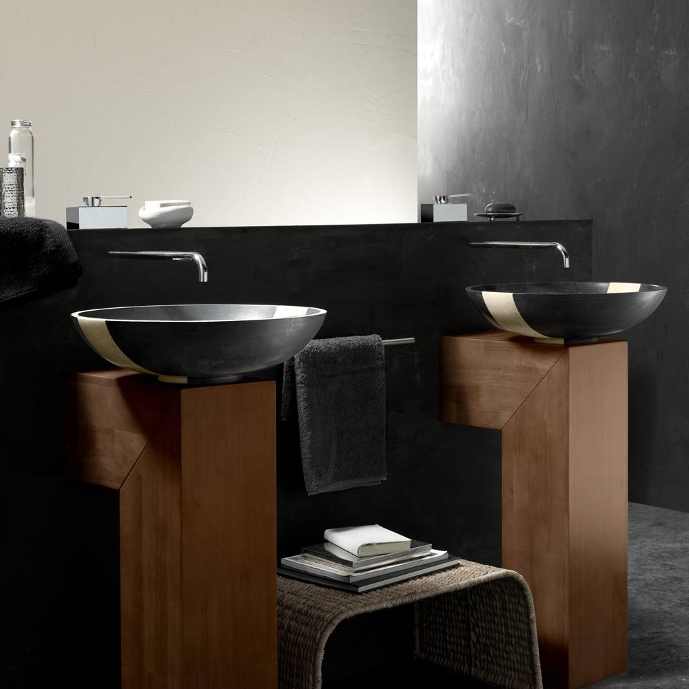Contemporary Black Marble Bathroom Sink
