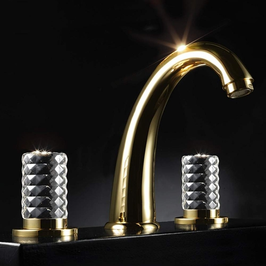 KYROS 3-Hole Polished Gold Luxury Bathroom Faucet
