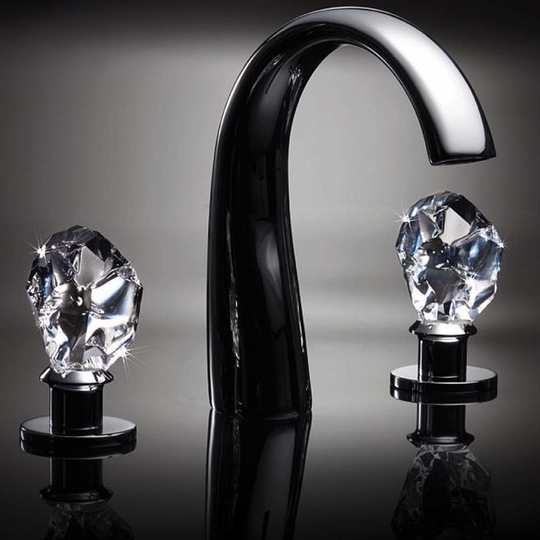 Lux Crystal 3-hole Bathroom Faucet | Polished Chrome