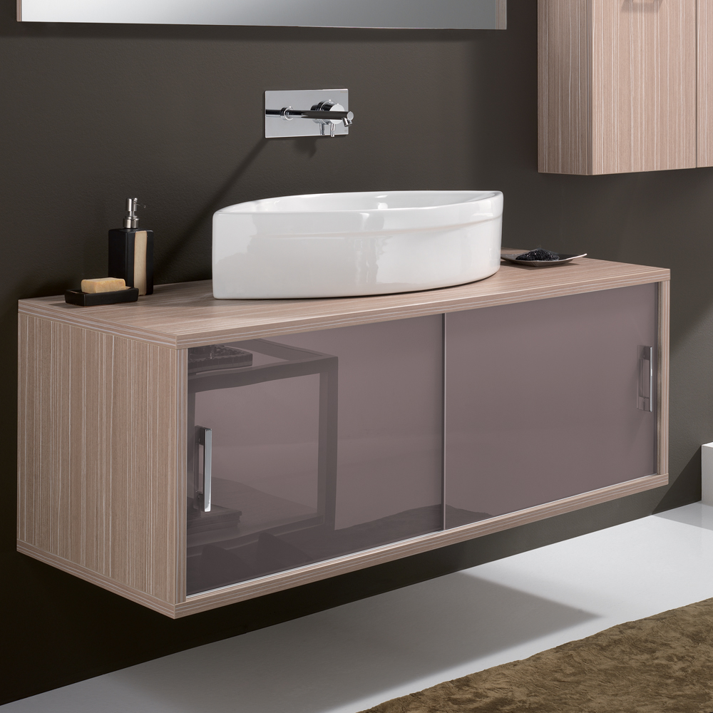 Maple Contemporary Wall Mount Bathroom Vanity
