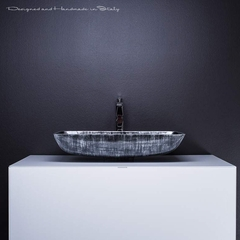Modern bathroom sink and vanity combo | White and Silver Black