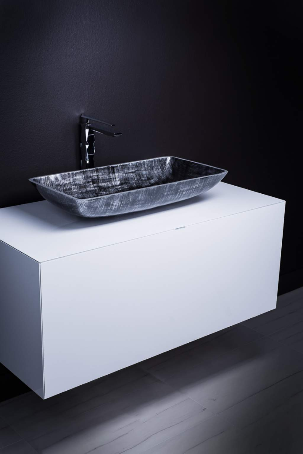 Modern Bathroom Sink And Vanity Combo White And Silver Black