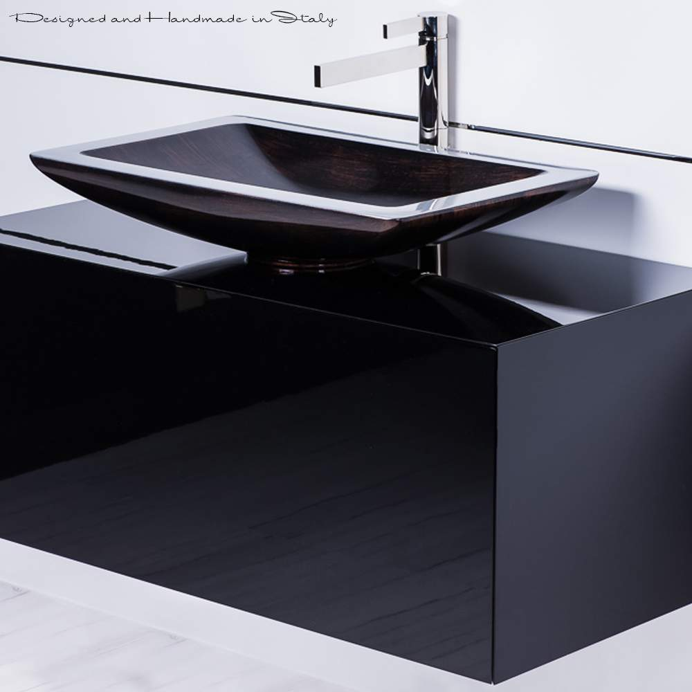 Beau 40 Inch Black Bathroom Vanity With Rectangular Vessel Sink And Faucet Combo