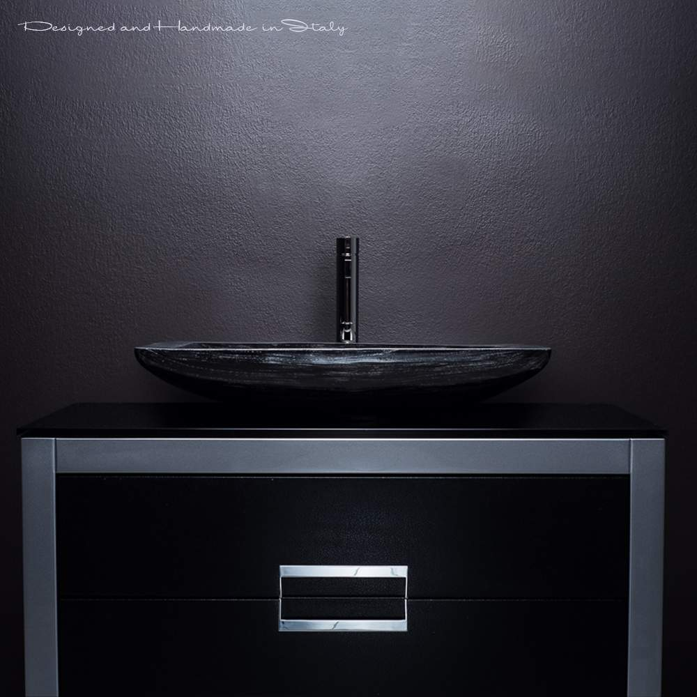 40 inch bathroom vanity with sink | Black and Silver