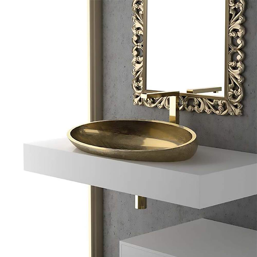 Modern Oval Drop In Bath Sink Gold Leaf