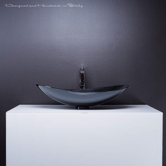 Modern white lacquer bathroom vanity with starlight black sink combo