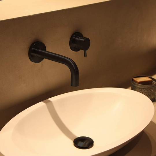 Modern Wall Mount Bathroom Faucet | Matte Black