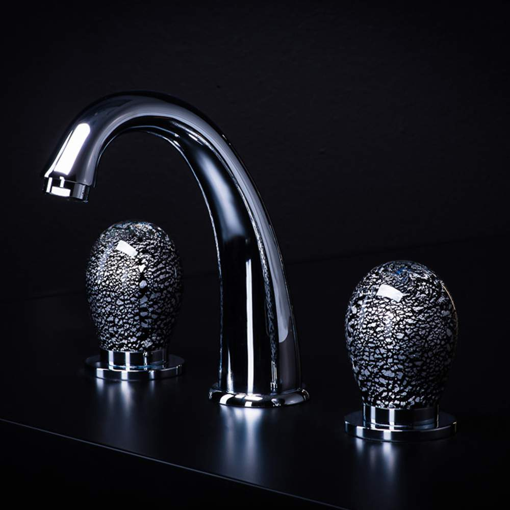 Murano 3 Hole Black Silver Luxury Bathroom Faucet