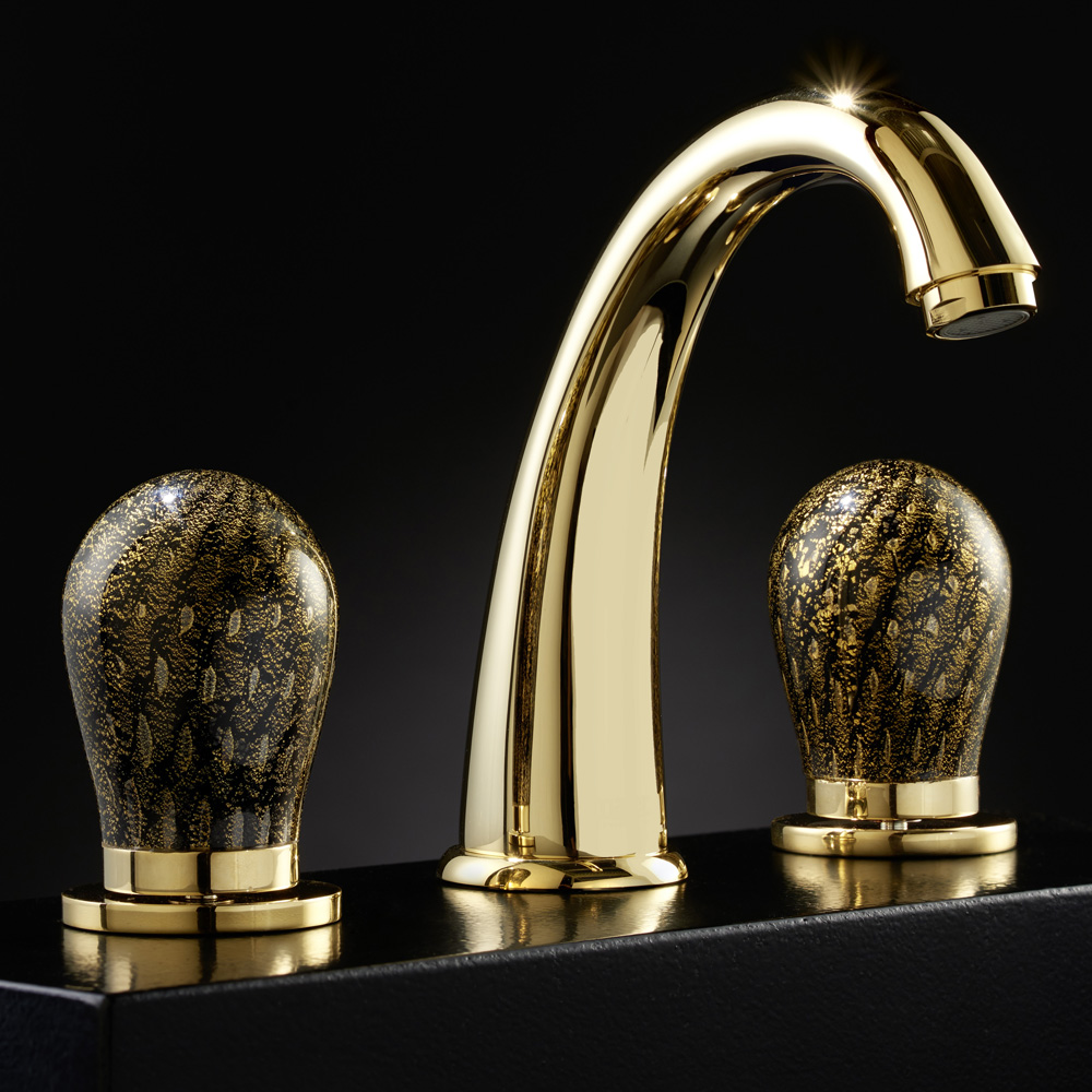 MURANO 3 Hole Black and Gold Luxury Bathroom Faucet