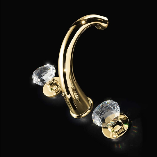 Rock 3-Hole Polished Gold Crystal Bathroom Faucet