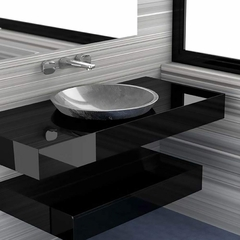 Round Drop-in Bathroom Sink | Silver Leaf
