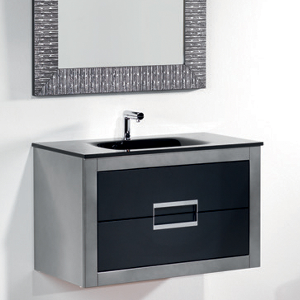 Danya silver leather modern bathroom vanity 32 inch for Restroom vanity
