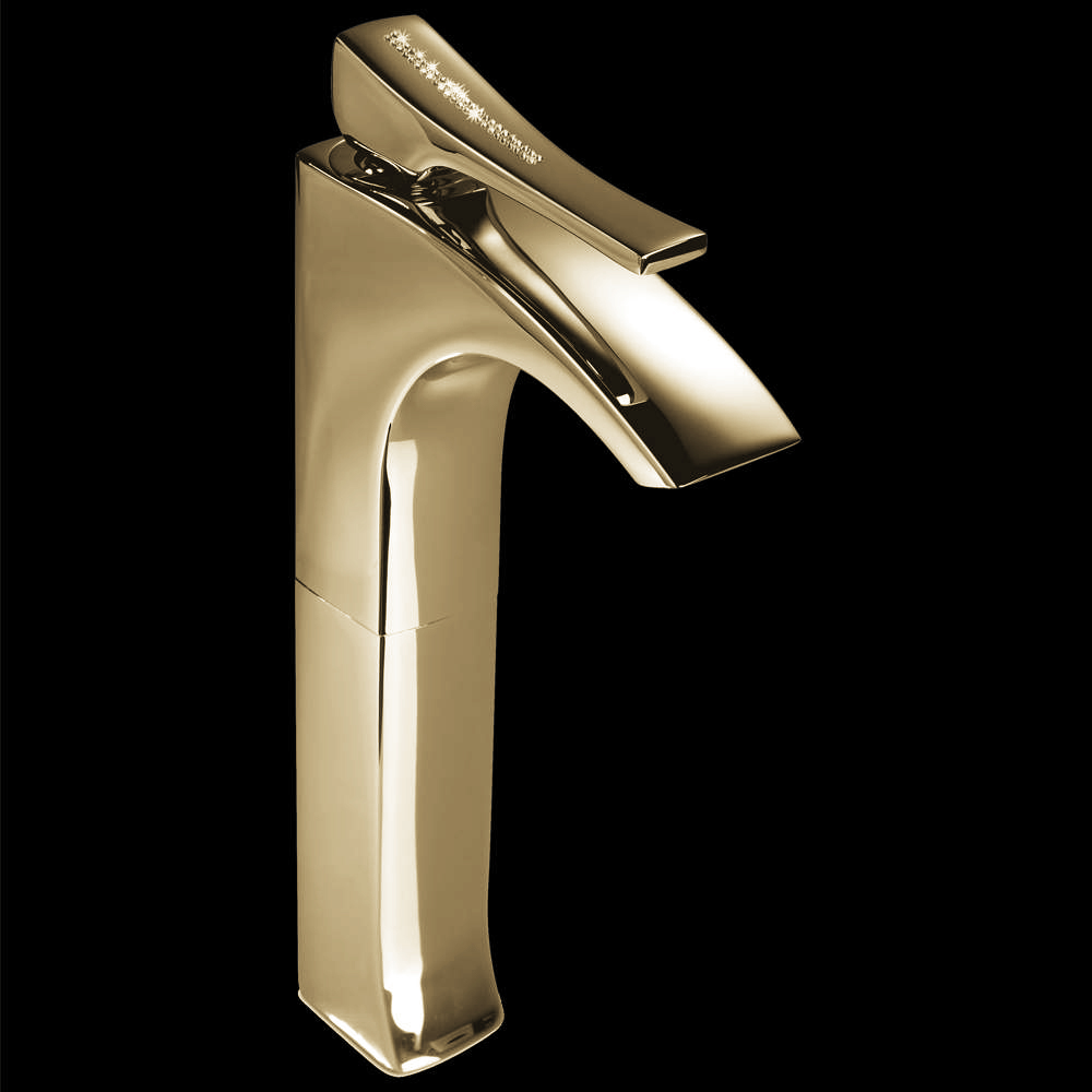 Skip diamond 1 hole polished gold luxury vessel sink faucet for Polished gold bathroom faucets