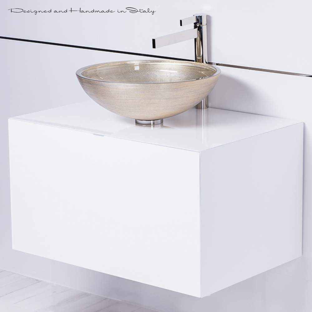 High End 30 Inch White Floating Bathroom Vanity And Vessel Sink Combo