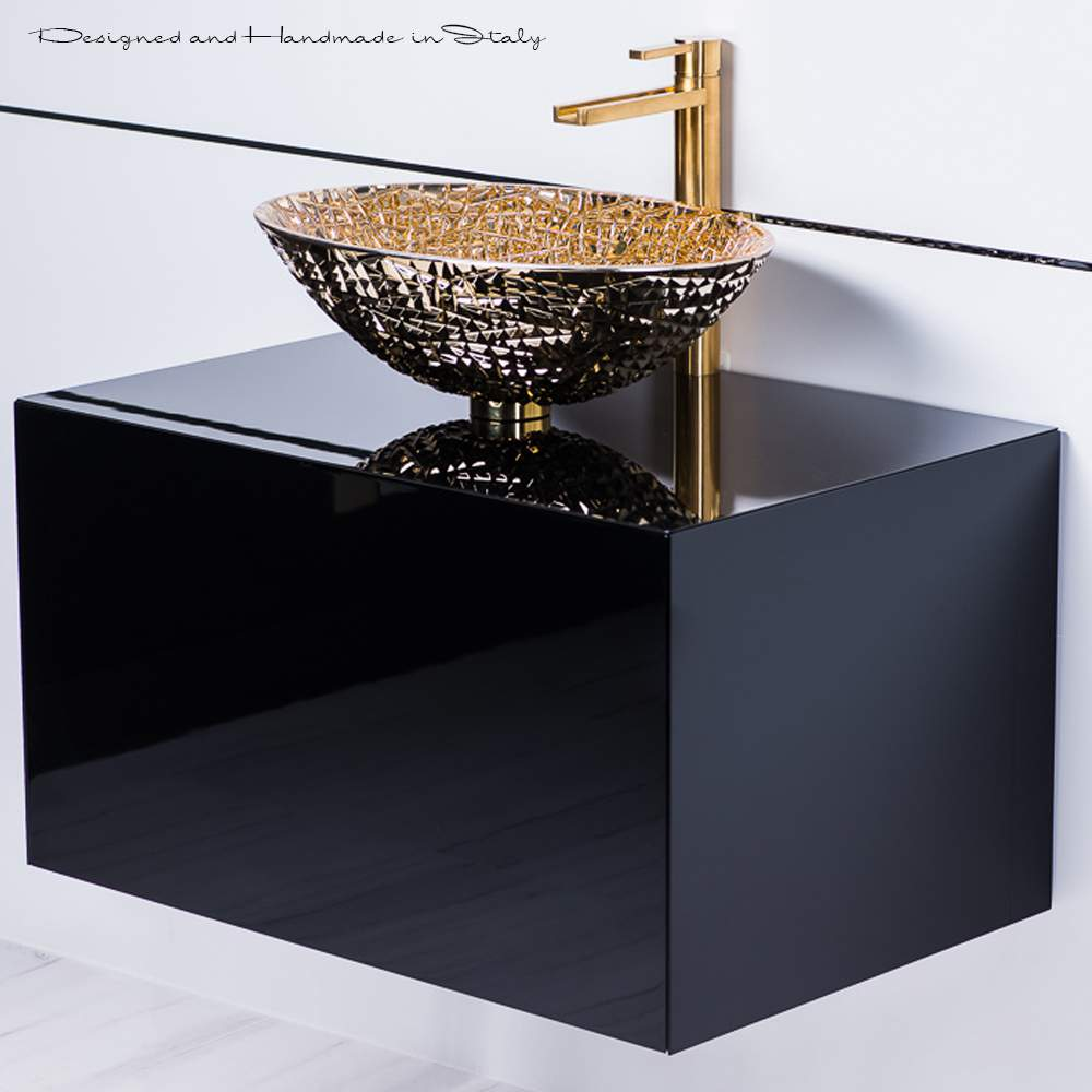 Fabulous Black Lacquer Bathroom Vanity With Gold Crystal Vessel Sink Interior Design Ideas Helimdqseriescom