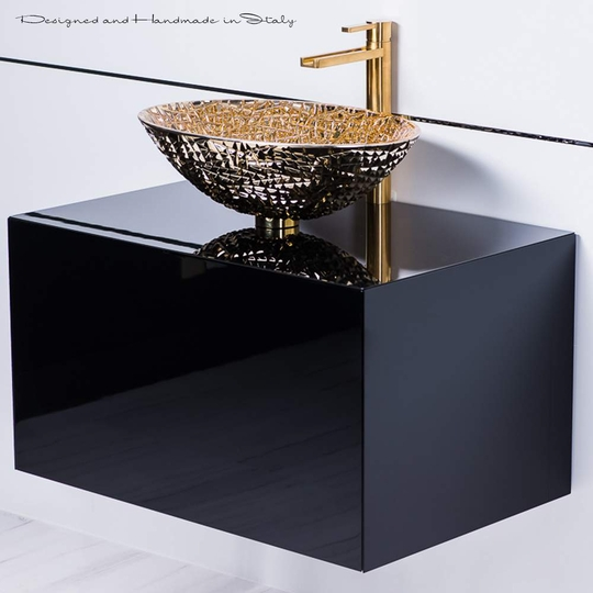 Black lacquer bathroom vanity with gold crystal vessel sink